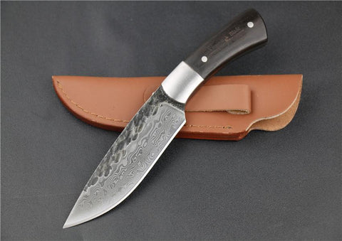 Kolation knife 58HRC Straight Forged Damascus Steel Fixed Blade Knife
