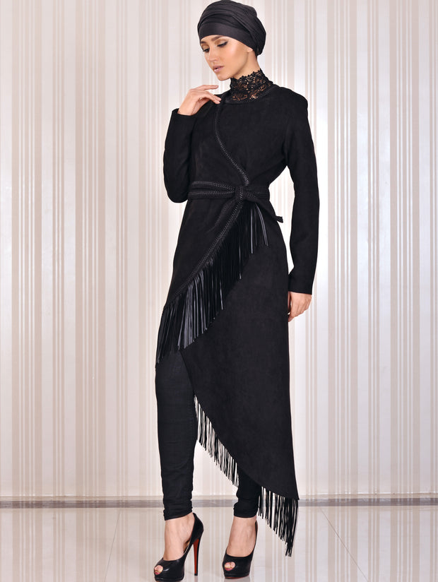 Black maxi Coat-wrap with fringe