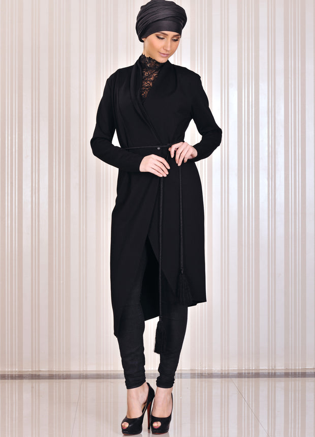 Black symmetric long Coat