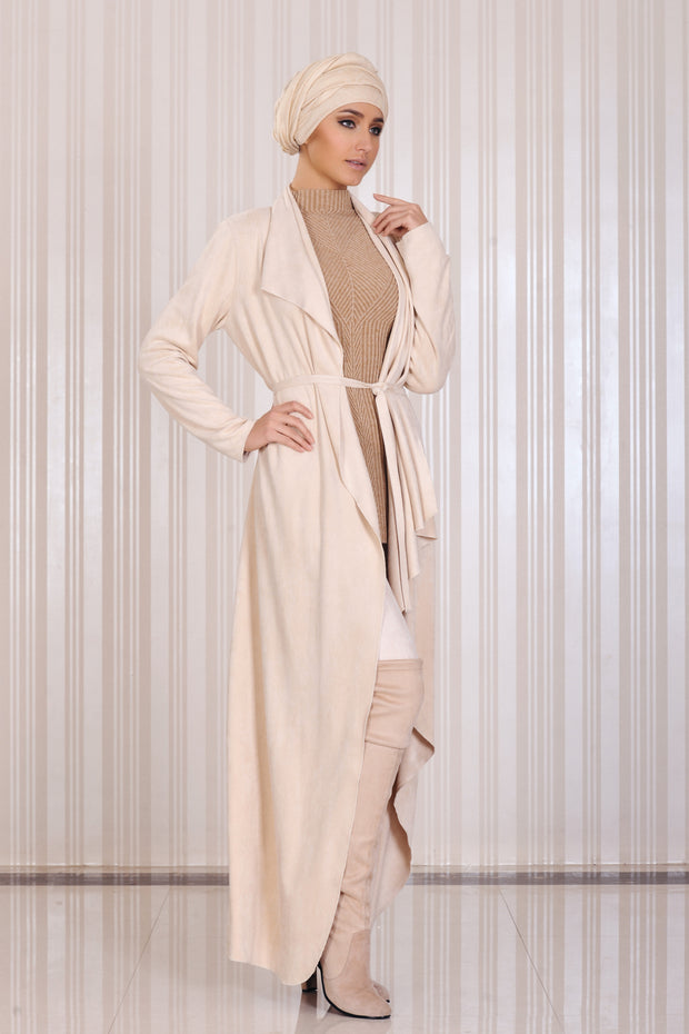 Maxi Coat-wrap with drapes and belt