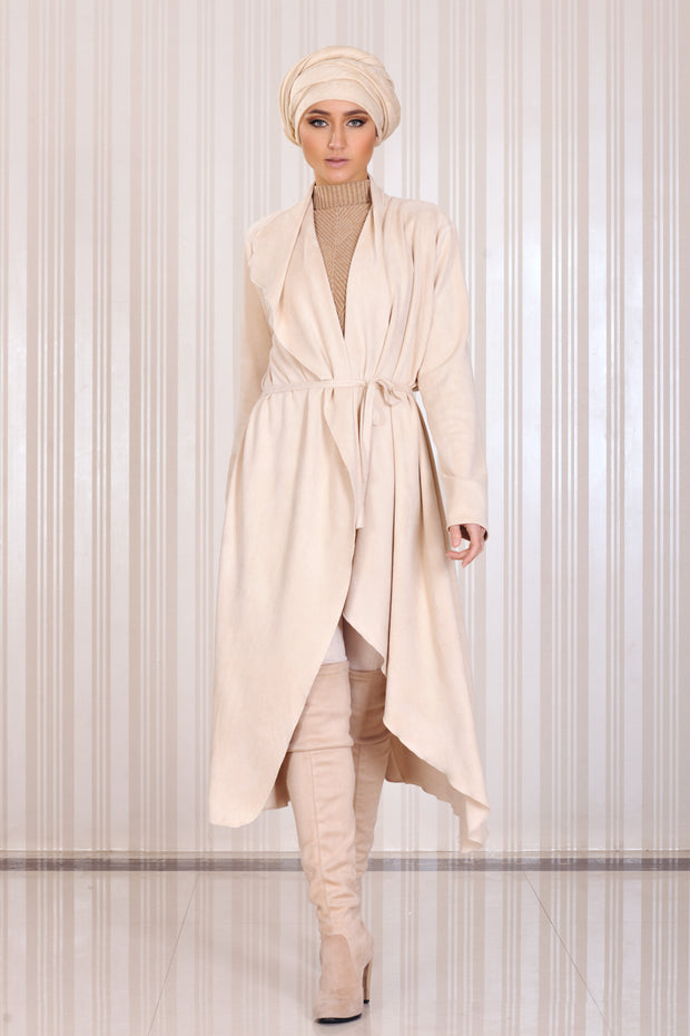 Midi Coat-wrap with drapes and belt