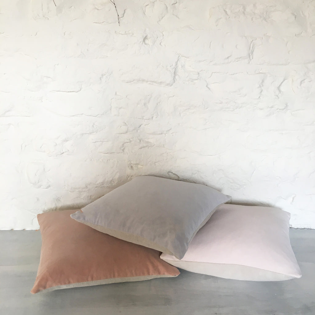 Naturally dyed velvet cushion cover - Dusty Grey