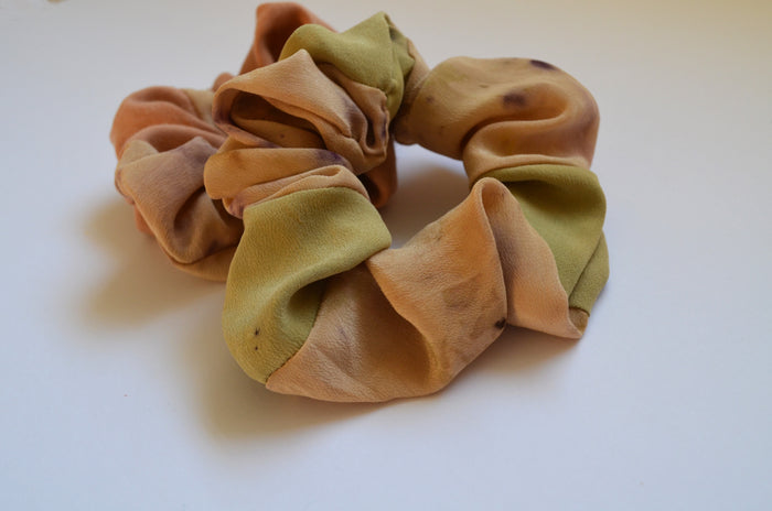 Silk scrunchie - sage and petals