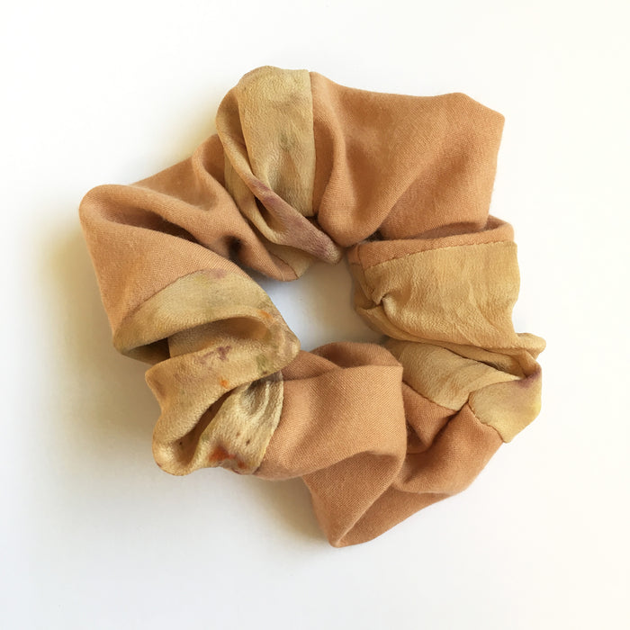 Silk scrunchie - avocado and petals