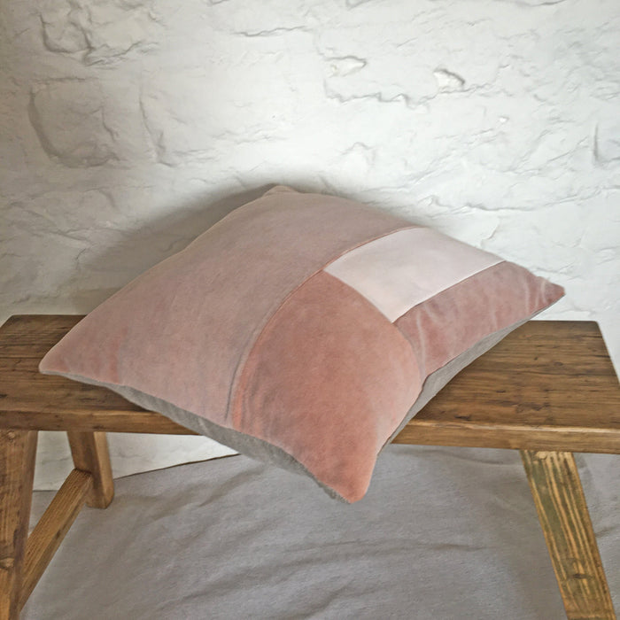 Naturally dyed cushion cover - Patched tiles