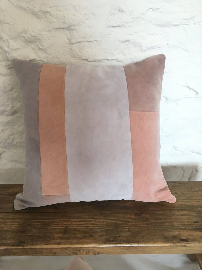 Naturally dyed velvet cushion cover - Between the lines
