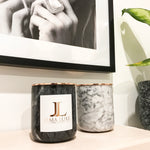 Italian Carrara Marble and Rose Gold Candle Jars