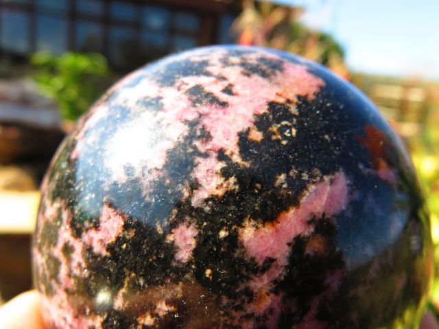 POLISHED RHODONITE BALL x 1 from Madagascar - TopRock