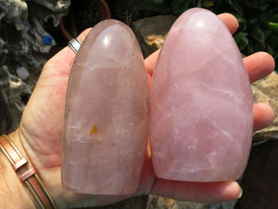 3 Gemmy polished rose quartz standing freeform display pieces - TopRock