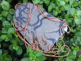 Polished Wire Wrapped Septerye Dragon Stone Slice Decor Piece x 1 from Mahajanga , Madagascar
