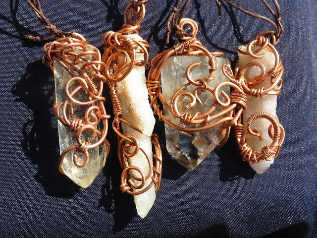 Natural & Polished Wire Wrapped Pendants x 4 from South Africa