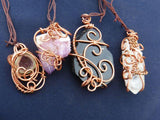 Polished & Natural Wire Wrapped Crystal Pendants x 4 from South Africa