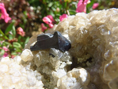 NATURAL BLACK SCHORL SPECIMENS x 2 from Namibia
