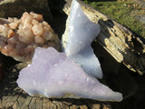 2 Natural crystalline blue agate pieces - TopRock