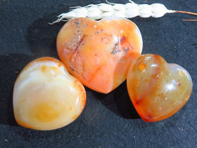 Polished Carnelian Hearts x 3 from Madagascar - TopRock