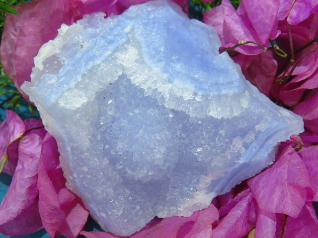 NATURAL CRYSTALLINE BLUE CHALCEDONY PIECES x 4 from Malawi - TopRock
