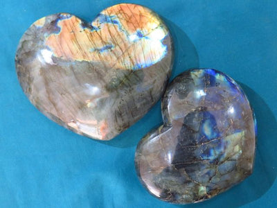 Polished Labradorite Hearts x 2 from Madagascar, Tulear