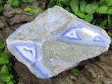 Polished Blue Agate Pieces x 3 from Malawi - TopRock