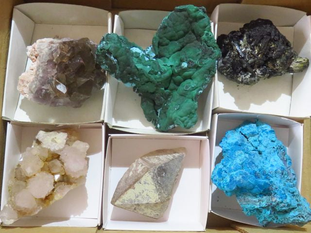 Natural Mixed Minerals x 6 from Mixed Localities