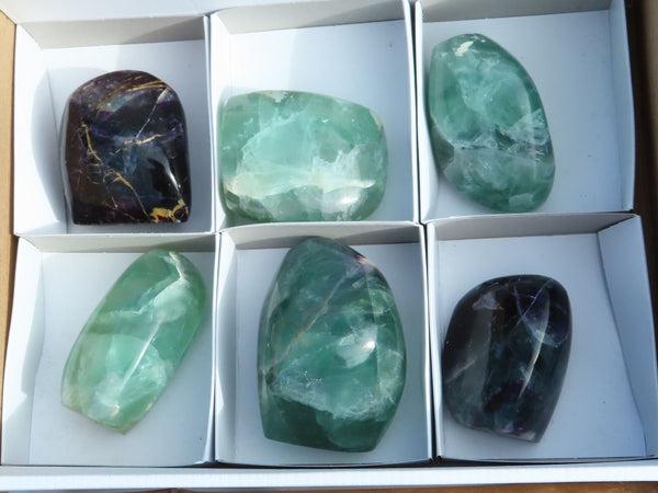 Polished Medium Green Fluorite and Watermelon Fluorite Standing Free Form x 6 from Uis, Namibia