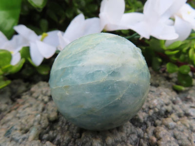 Polished Aquamarine Quartz Crystal Balls x 2 from Angola