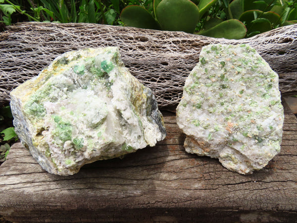 Natural Large Demantoid Garnet On Matrix Specimens x 2 From Green Dragon Mine, Erongo Namibia