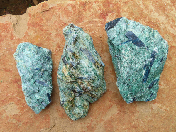 Natural Blue Kyanite In Green Fuchsite Specimens x 3 From Zimbabwe