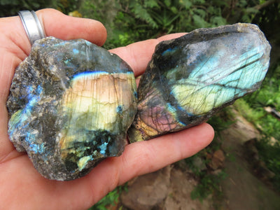 One Side Polished Labradorite Slabs x 6 from Tulear, Madagascar