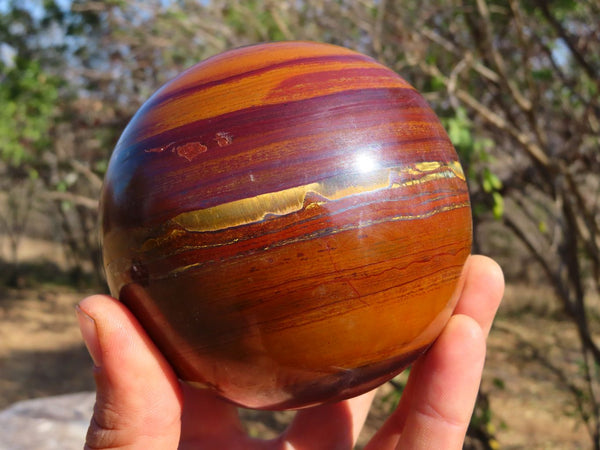 Polished Red Banded Ironstone & Golden Tigers Eye Large Sphere x 1  from Prieska, South Africa