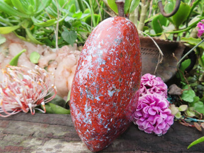 Polished New Flower Jasper Standing Free Forms x 2 from Namibia