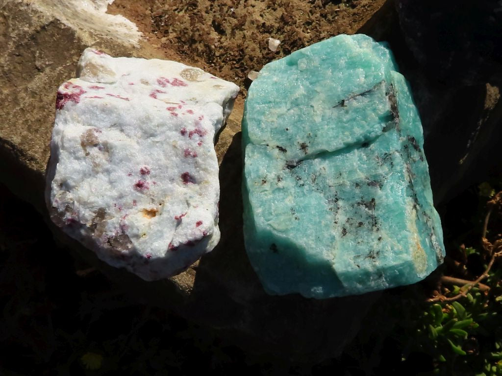 Natural Amazonite, Watermelon Fluorite & Rubellite Chunks x 12 from Southern Africa