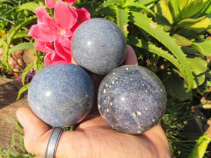Polished Rare Lazulite Crystal Balls x 3 from Madagascar