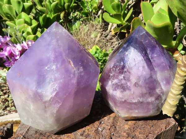 Polished Medium Amethyst Quartz Crystal Points x 2 from Zambia