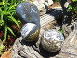 Polished Ocean Jasper Standing Freeform & Sphere x 3 from Madagascar