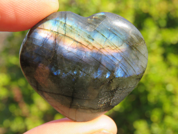 Polished Mini Labradorite Gemstone Hearts - sold per 500 g  from Madagascar