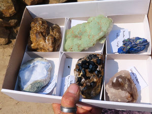 Natural Mixed Labelled Minerals x 6 from Southern Africa