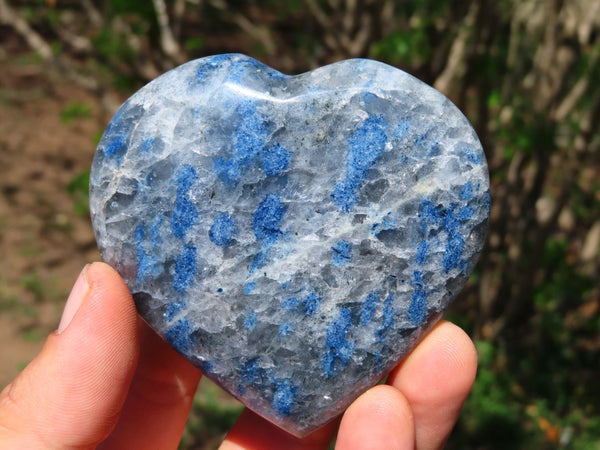 Polished  New Rare Blue Spinel Spotted Quartz Crystal Hearts x 6 From Madagascar