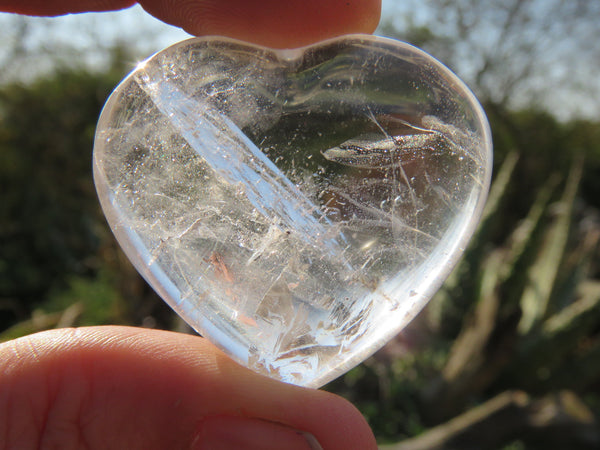 Polished Small Rock Crystal Quartz Gemstone Hearts  - sold per kg  from Madagascar