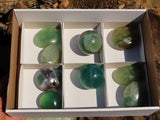 Polished Fluorite Balls & Gallets x 9 from Madagascar