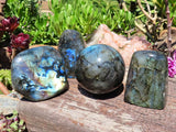 Polished Labradorite Standing Freeforms & Ball x 4 from Tulear, Madagascar