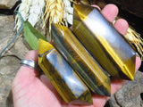 Polished DT tigers eye crystals x 6 from Prieska, South Africa - TopRock