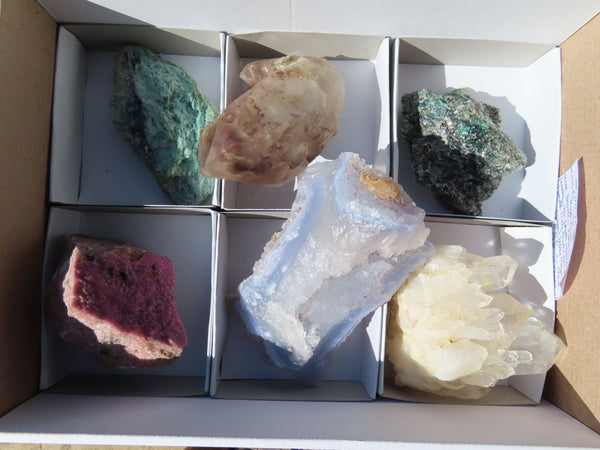 Natural Mixed Collectible Mineral Specimens with Labels x 6 from Southern Africa