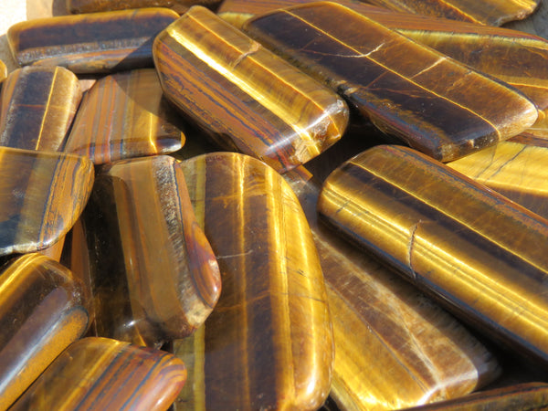 Polished Highly Chatoyant Golden Tigers Eye Slices / Slabs - sold per 1 kg  from Prieska, South Africa