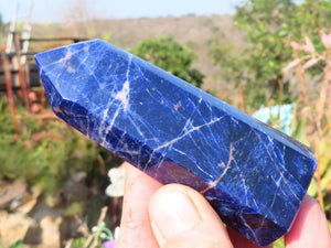 Polished Sodalite Crystal Points x 6 from Kunene, Namibia