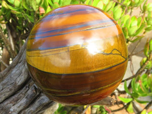 Polished Red Banded Tigers Eye Ball x 1  from Prieska, South Africa