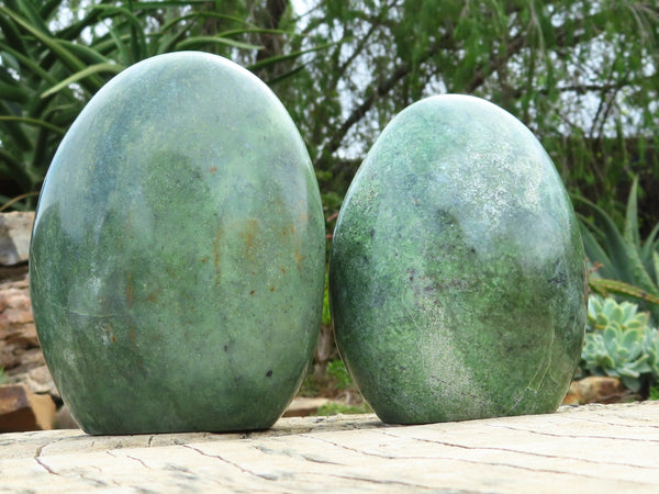 Polished Medium Chrysoprase Standing Free Forms x 2 from Madagascar