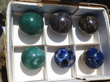 Polished Mixed Southern African Balls x 6  from Swazi, South Africa, Namibia
