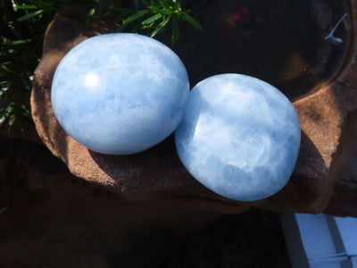 Polished Blue Calcite Gallets x 12 from Madagascar