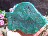 Cut & Polished Malachite Pieces x 2 from Kolwezi, Congo
