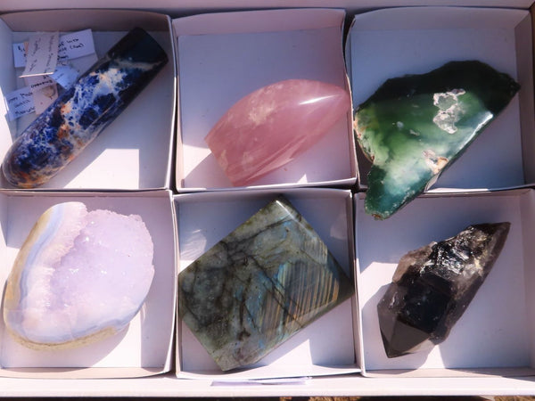 Polished Mixed Labelled Items (Mtorolite, Quartz, Amethyst Blue Lace, Rose Quartz and more ) x 6 from Southern Africa